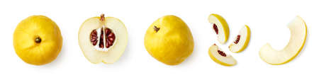 Set of fresh whole and sliced quinces isolated on white background, top view