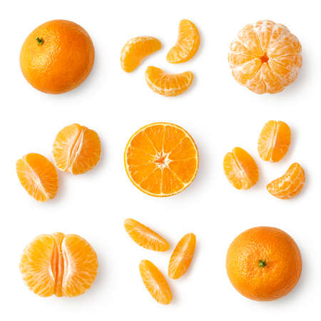 Set of fresh whole, peeled and sliced mandarin, tangerine or clementine isolated on white bcakground, top view Imagens