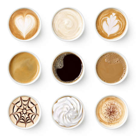 Set of paper take away cups of different coffee latte or cappuccino