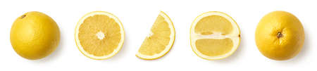Whole, half and sliced white grapefruit isolated on white background, top view