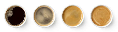 Set of paper take away cups of different black coffee isolated on white background, top view