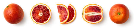 Whole, half and sliced red blood orange fruit isolated on white background, top view