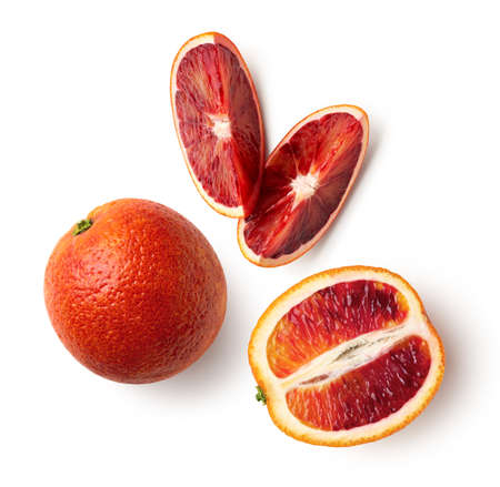 Whole, half and sliced red blood orange fruit isolated on white background, top view, above
