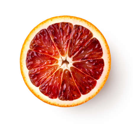 Half or slice of fresh ripe red blood orange fruit isolated on white background, top view, above