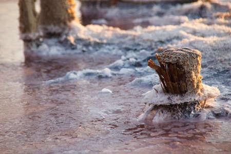 Rose salt lake Sivash. Production of salt, brine, therapeutic mud for spa salons. Ukraine Kherson region village Priozernoe.