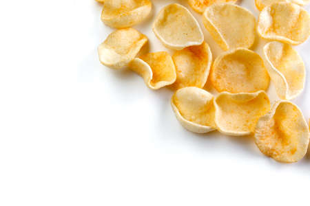 Potatoes snack with pepper on isolated white background. Close-up