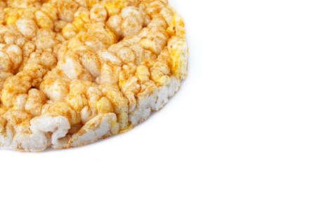 Caramelized corn cakes isolated on white