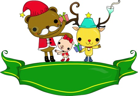 merry chrismas: Reindeer is symbol of Chrismas ,he and Santa  go  everywhere and make everyone happy  Illustration