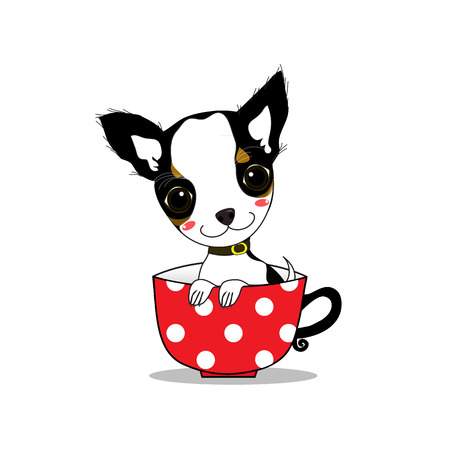 baby chihuahua with smiling face in red cup. Çizim