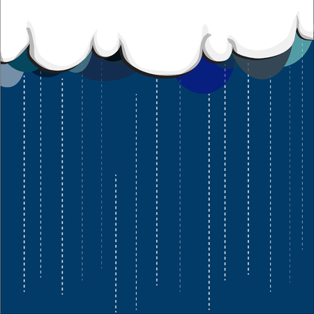raining: white cloud with color of shadow that above blue sky, it is raining. Illustration
