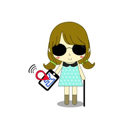 blind dog: blind female has smartphone and mobile application for guide her. Illustration