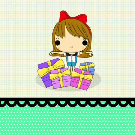 lovely girl: chica encantadora con un regalo mucho en la l�nea de papel y punto. Vectores