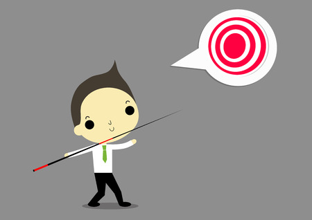 javelin: businessman with wooden javelin want to catch target that is he goal.