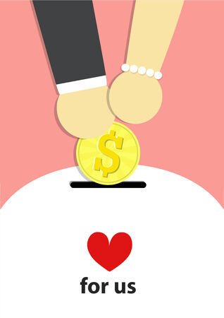 man and woman their hand carry coin of dollar and piggy bank for get marry  on pink background.