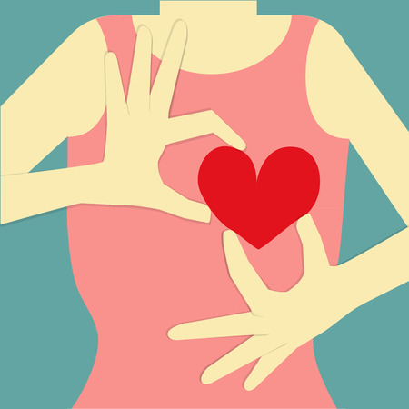 give hand: woman body on blue background, who is her hand post to give her red heart