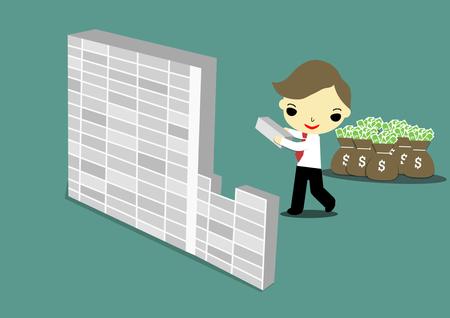 egoista: empresario ego�sta construcci�n de la pared para ocultar dinero.