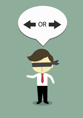 which way: businessman who close his eye and will decision which way is best.
