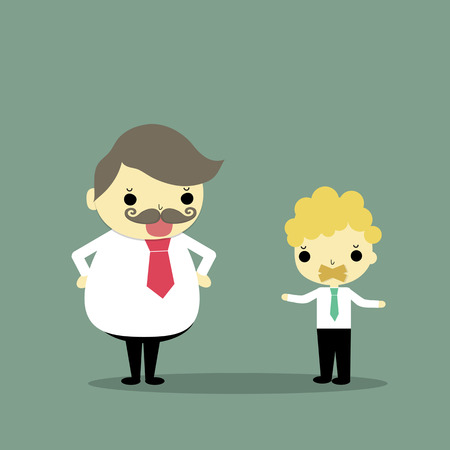 gag: one businessman is gag was abused by boss who is huge businessman. Illustration