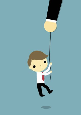 advisor: big hand carry rope for help a businessman. Illustration