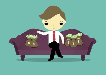 was: businessman sit on sofa was around of sack of money. Illustration