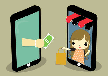 one mobile is shop that has woman carry paperback and one mobile is customer who is hand carry money for exchange.