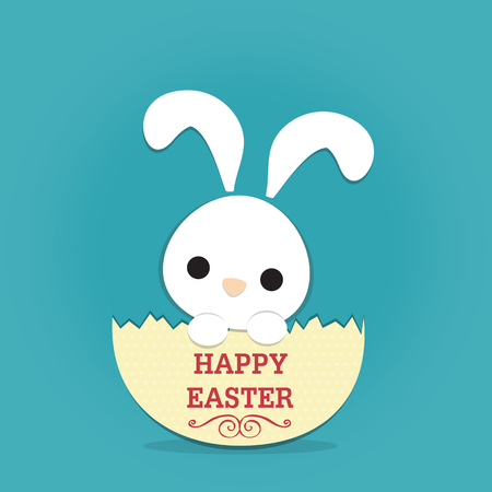 eggshell: white rabbit in half eggshell with text \ happy easter\ on blue background.