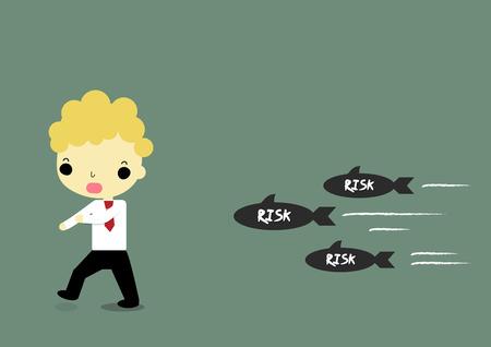 businessman running for avoid risk which moving full speed.