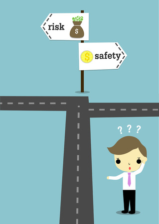 which: businessman stand near road with question mark above his head and signs with word risk or safety which have sack and coin of money. Illustration