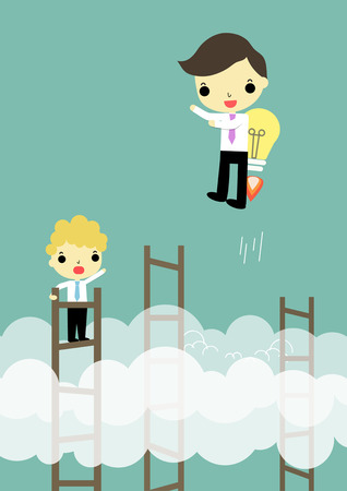 advantages: businessman who carry lightbulb on his back hight speed than business on stair. Illustration