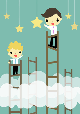 advantages: businessman on highest stair catching big star. Illustration