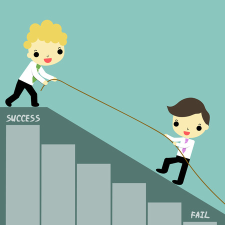 steep: one businessman was helped by businessman  carry rope who stand at success position.