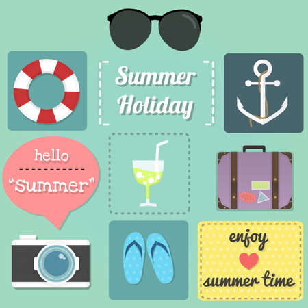ex: these are set of summer item ex. sunglasses, cocktail, luggage, camera, umbrella  and text of summer.