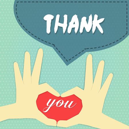 手指姿勢の単語の上の中心として「あなたは」word「ありがとうございます」ネイビー ブルー バナー青空水玉バック グラウンドを持つ。  イラスト・ベクター素材