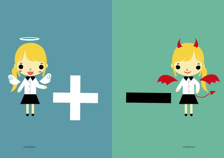 businesswoman in angel and devil form that carry plus and minus smybol on two tone color background. Vector