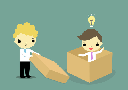 businessman outside thebox help businessman who is in the box and has bulblight on his head. Vector