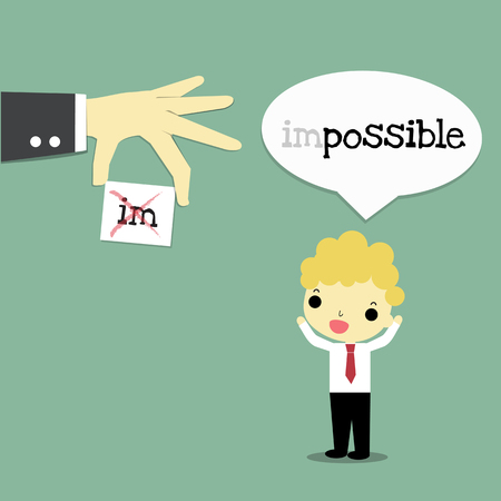 speak out: businessman with happy emotion who speak impossible and big hand wich cut out word im the result is possible.