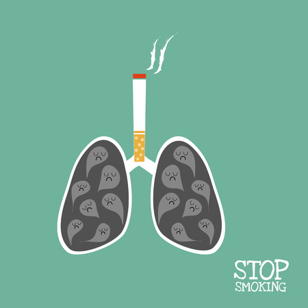 lung: lungs which black smoke and cigarette above it and word  stop smoking. Illustration