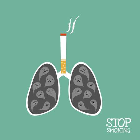 """pulmones que el humo negro y cigarrillo por encima de ella y la palabra """"dejan de fumar"""". Vectores"""
