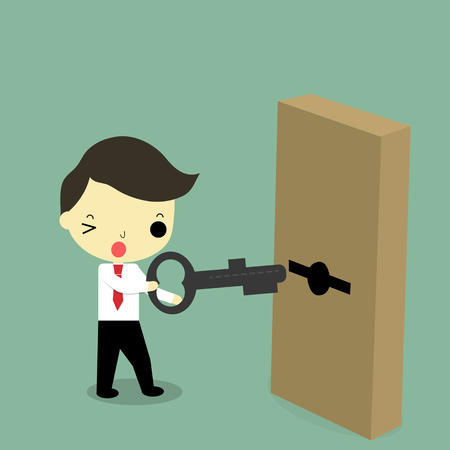 businessman carry key and trying to unlock the door. Vector