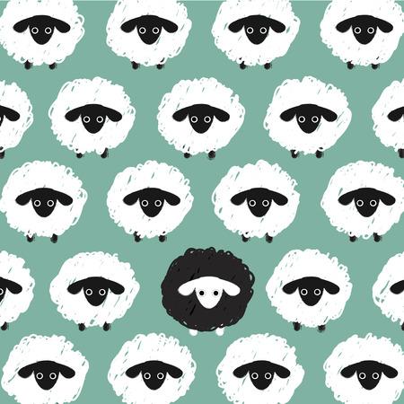 sheeps: white sheeps around one black sheep  on blue background. Illustration