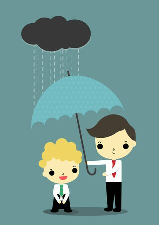 depress: business with depress emotion who has black cloud and rain above his head is helped by businessman who carry umbrella. Illustration