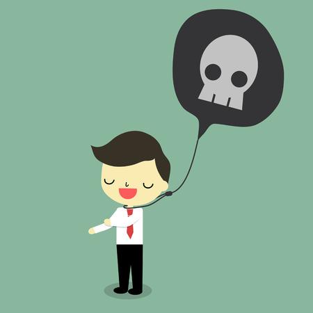 destroy: businessman say bad word with skull that will destroy him.