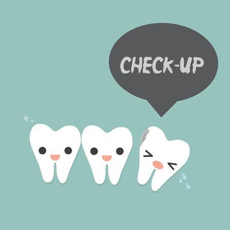 """dientes con caries: dos dientes maravillosos y un diente cariado con la palabra """"chequeo"""". Vectores"""