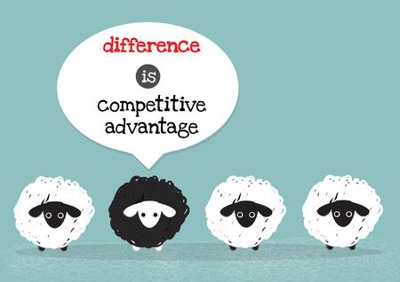 één zwart schaap rond met witte schapen die het verschil betekenen is concurrentievoordeel. Vector Illustratie