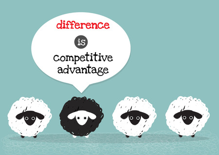 oveja negra: una oveja negro alrededor con ovejas blancas que significa diferencia es la ventaja competitiva. Vectores