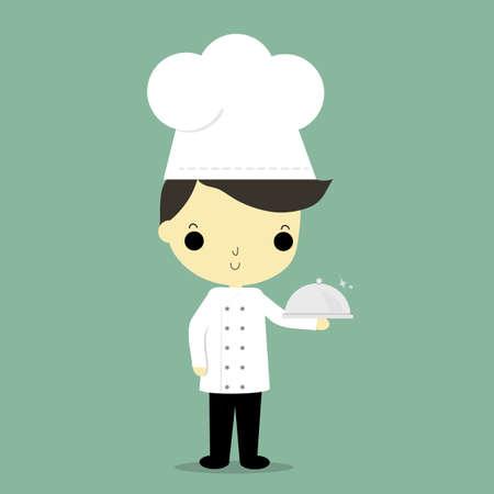 kitchen cartoon: hombre en uniforme del cocinero llevar comida en la mano sobre fondo azul. Vectores