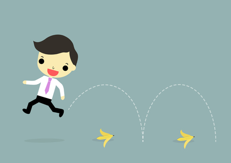 businessman jumping: businessman jumping pass bananas on the ground. Illustration