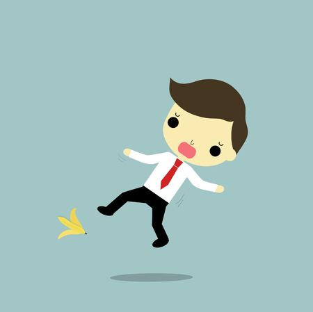 businessman will fall because banana on blue background. Vector