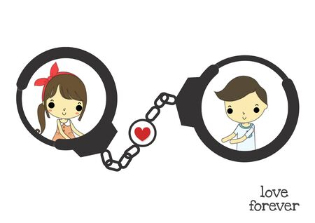 shackle: black shackle with heart has girl and boy on it.