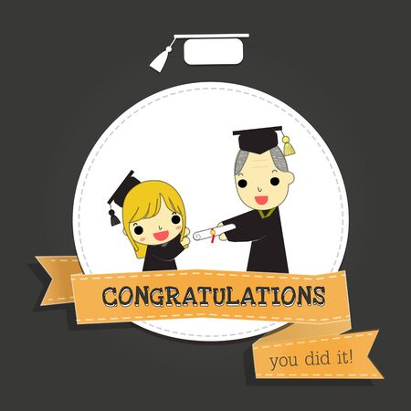 it girl: girl graduate and professor with word  congratulations , you did it  on orange ribbon above grey background.